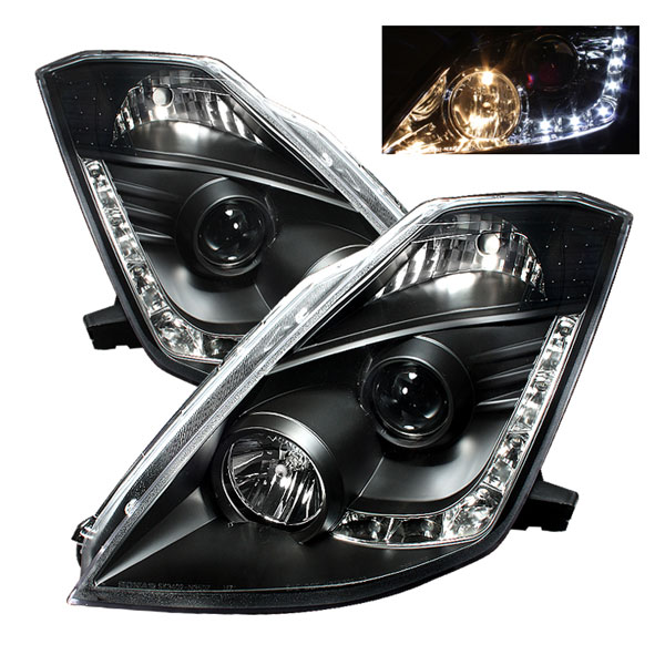 Spyder PRO-YD-N350Z02-DRL-BK:  Nissan 350Z 03-05 ( Halogen Bulbs Version ) DRL LED Projector Headlights - Black