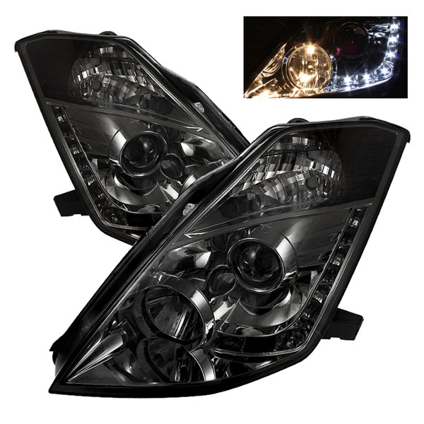 Spyder 5064752:  Nissan 350Z 03-05 ( Halogen Bulbs Version ) DRL LED Projector Headlights - Smoke  - (PRO-YD-N350Z02-DRL-SM)