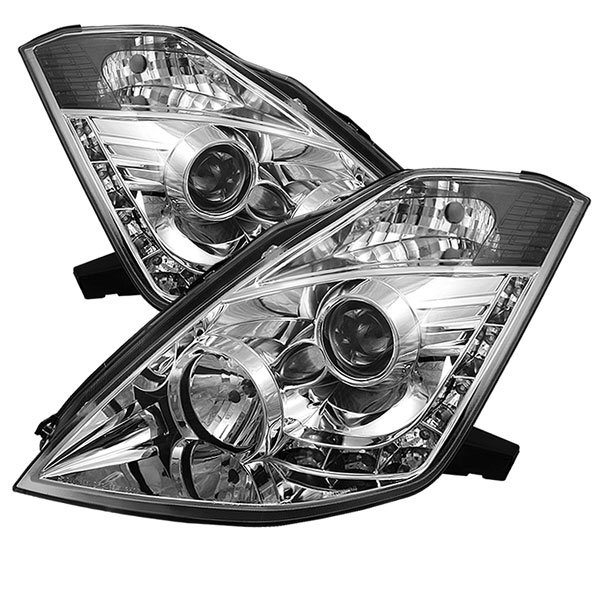 Spyder PRO-YD-N350Z02-HID-DRL-C:  Nissan 350Z 03-05 ( HID Version ) DRL LED Projector Headlights - Chrome