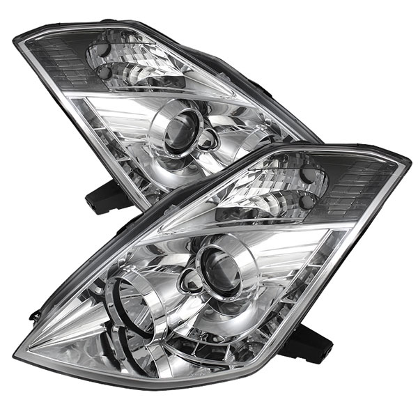 Spyder PRO-YD-N350Z06-HID-DRL-C:  Nissan 350Z 06-08 ( HID Version ) DRL LED Projector Headlights - Chrome