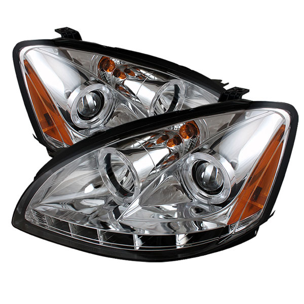 Spyder PRO-YD-NA02-HL-C:  Nissan Altima 02-04 Halo LED ( Replaceable LEDs ) Projector Headlights - Chrome