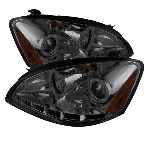 Spyder PRO-YD-NA02-HL-SM:  Nissan Altima 02-04 Halo LED ( Replaceable LEDs ) Projector Headlights - Smoke