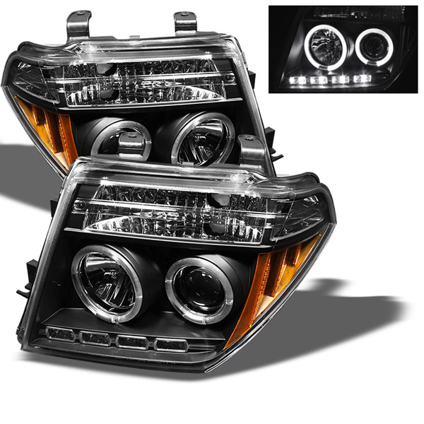Spyder PRO-YD-NF05-HL-BK:  Nissan Frontier 05-08 Halo LED ( Replaceable LEDs ) Projector Headlights - Black
