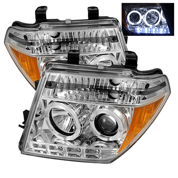 Spyder 5011534:  Nissan Pathfinder 05-07 Halo LED ( Replaceable LEDs ) Projector Headlights - Chrome  - (PRO-YD-NF05-HL-C)