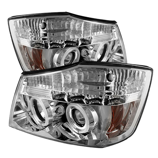 Spyder PRO-YD-NTI04-CCFL-C:  Nissan Titan 04-07 CCFL LED ( Replaceable LEDs ) Projector Headlights - Chrome