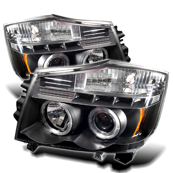 Spyder (5011572)  Nissan Titan 04-07 Halo LED ( Replaceable LEDs ) Projector Headlights - Black  - (PRO-YD-NTI04-HL-BK)