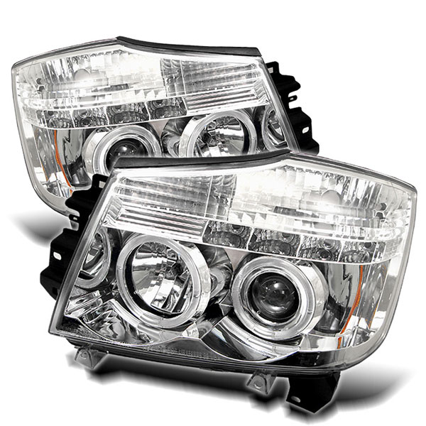 Spyder PRO-YD-NTI04-HL-C:  04-07 Nissan Armada Halo LED ( Replaceable LEDs ) Projector Headlights - Chrome