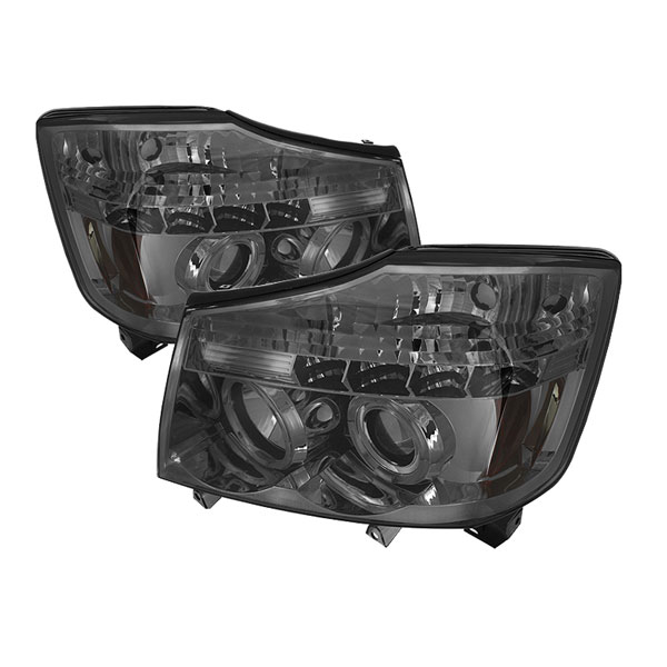 Spyder PRO-YD-NTI04-HL-SM:  Nissan Titan 04-10 Halo LED ( Replaceable LEDs ) Projector Headlights - Smoke