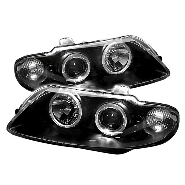 Spyder 5011749 | Pontiac GTO Halo LED ( Replaceable LEDs ) Projector Headlights - Black - (PRO-YD-PGTO04-HL-BK); 2004-2006