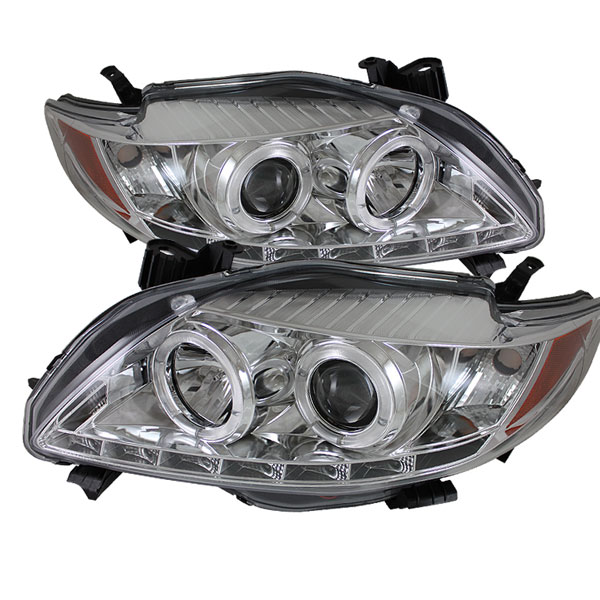 Spyder PRO-YD-TC09-DRL-C:  Toyota Corolla 09-10 DRL LED Projector Headlights - Chrome