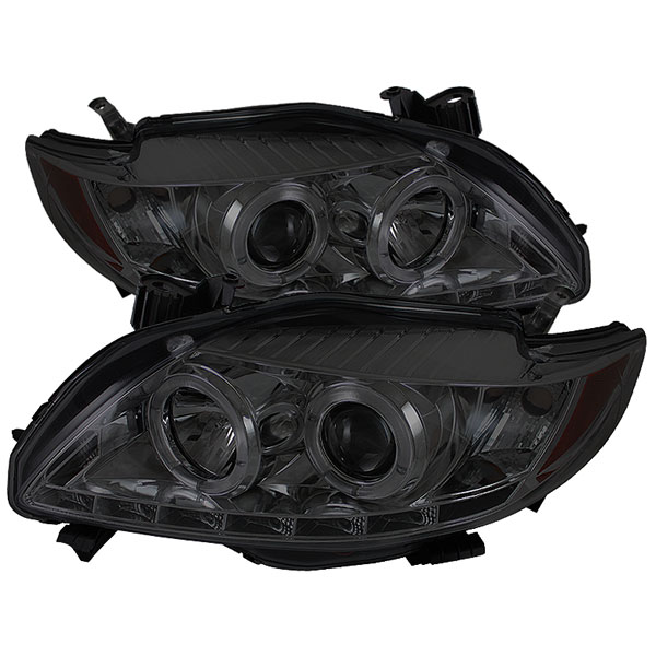 Spyder PRO-YD-TC09-DRL-SM:  Toyota Corolla 09-10 DRL LED Projector Headlights - Smoke