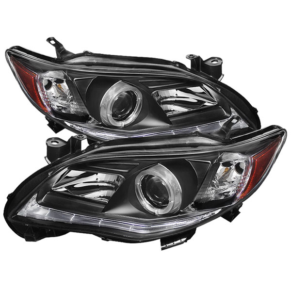 Spyder PRO-YD-TC11-DRL-BK:  Toyota Corolla 11-13 Projector Headlights - Halogen Model Only ( Not Compatible With Xenon/HID Model ) - DRL LED - Black