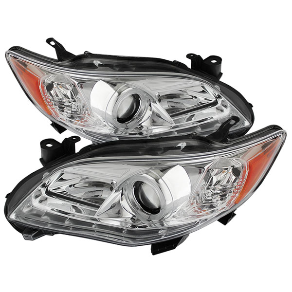 Spyder PRO-YD-TC11-DRL-C:  Toyota Corolla 11-13 Projector Headlights - Halogen Model Only ( Not Compatible With Xenon/HID Model ) - DRL LED - Chrome