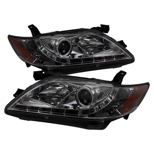 Spyder 5039439 |  Toyota Camry DRL LED Projector Headlights - Smoke - (PRO-YD-TCAM07-DRL-SM); 2007-2009