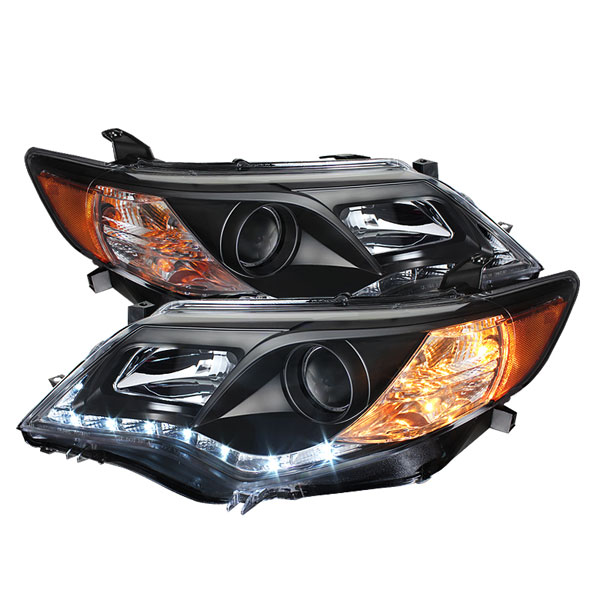 Spyder PRO-YD-TCAM12-DRL-BK:  Toyota Camry 12-13 Projector Headlights - DRL - Black - High 9005 (Not Included - Low 9006 (Included)