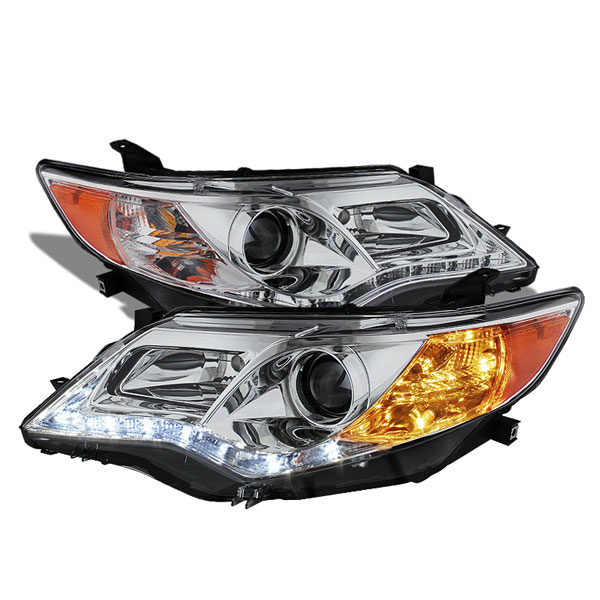 Spyder PRO-YD-TCAM12-DRL-C:  Toyota Camry 12-13 Projector Headlights - DRL - Chrome - High 9005 (Not Included - Low 9006 (Included)