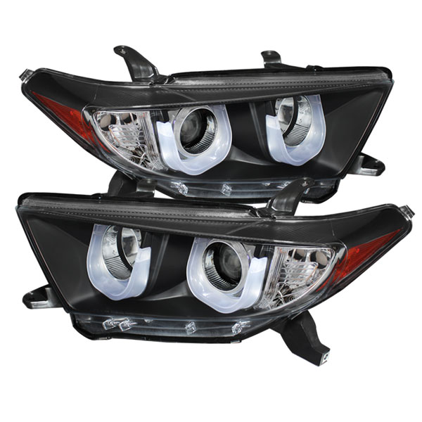 Spyder 5075055:  Toyota Highlander 11-13 Projector Headlights - 3D DRL - Black - High H1 (Included) - Low H7 (Included) - (PRO-YD-THLAN11-3DDRL-BK)
