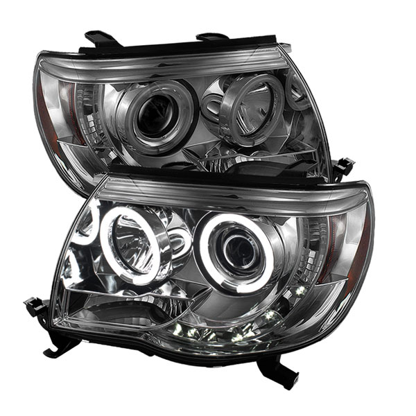 Spyder (5042088)  Toyota Tacoma 05-10 CCFL LED ( Replaceable LEDs ) Projector Headlights - Smoke  - (PRO-YD-TT05-CCFL-SM)