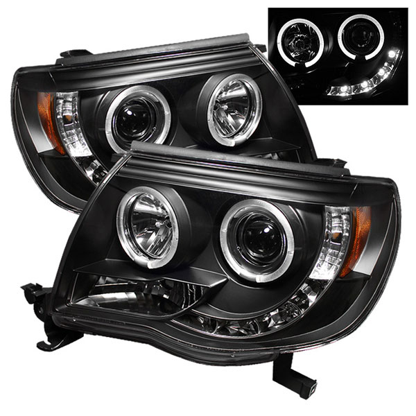 Spyder 5011916 |  Toyota Tacoma Halo LED ( Replaceable LEDs ) Projector Headlights - Black - (PRO-YD-TT05-HL-BK); 2005-2011