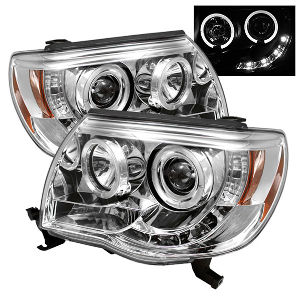 Spyder PRO-YD-TT05-HL-C:  Toyota Tacoma 05-10 Halo LED ( Replaceable LEDs ) Projector Headlights - Chrome