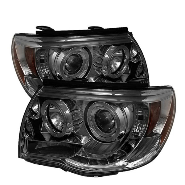 Spyder PRO-YD-TT05-HL-SM:  Toyota Tacoma 05-10 Halo LED ( Replaceable LEDs ) Projector Headlights - Smoke