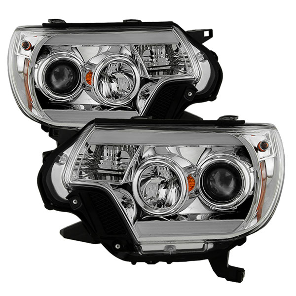 Spyder 5081704 | Toyota Tacoma Projector Headlights - Light Bar DRL - Chrome - (PRO-YD-TT12-LBDRL-C); 2012-2015