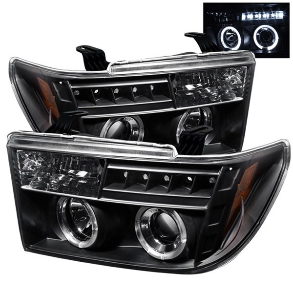 Spyder PRO-YD-TTU07-HL-BK:  Toyota Sequoia 08-12 Halo LED ( Replaceable LEDs ) Projector Headlights - Black