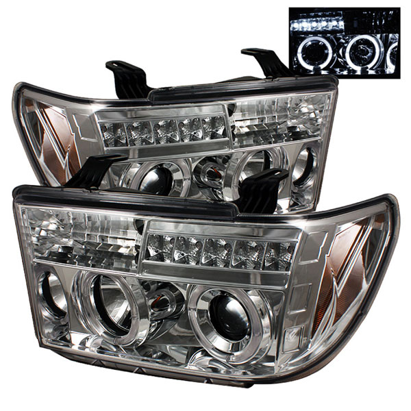 Spyder PRO-YD-TTU07-HL-C:  Toyota Tundra 07-12 Halo LED ( Replaceable LEDs ) Projector Headlights - Chrome