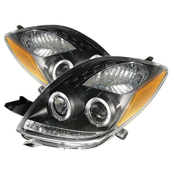 Spyder PRO-YD-TYA06-HL-BK:  Toyota Yaris 06-08 2Dr Halo LED ( Replaceable LEDs ) Projector Headlights - Black