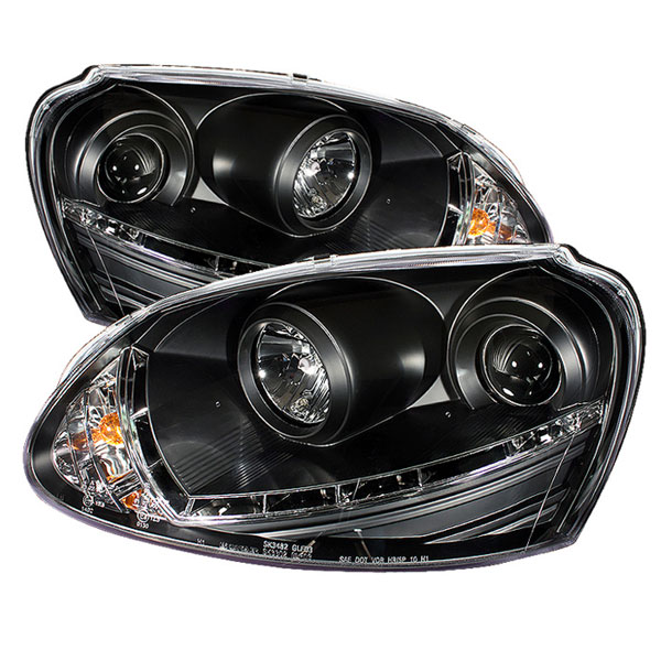 Spyder PRO-YD-VG06-HID-DRL-BK:  Volkswagen Rabbit 06-09 HID Type DRL LED Projector Headlights - Black