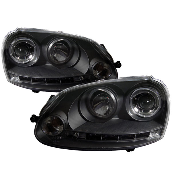 Spyder PRO-YD-VG06-HL-BK:  Volkswagen GTI 06-09 Halo LED Projector Headlights - Black