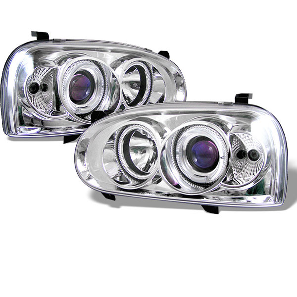 Spyder PRO-YD-VG92-C:  Volkswagen Golf III 93-98 Halo Projector Headlights - Chrome