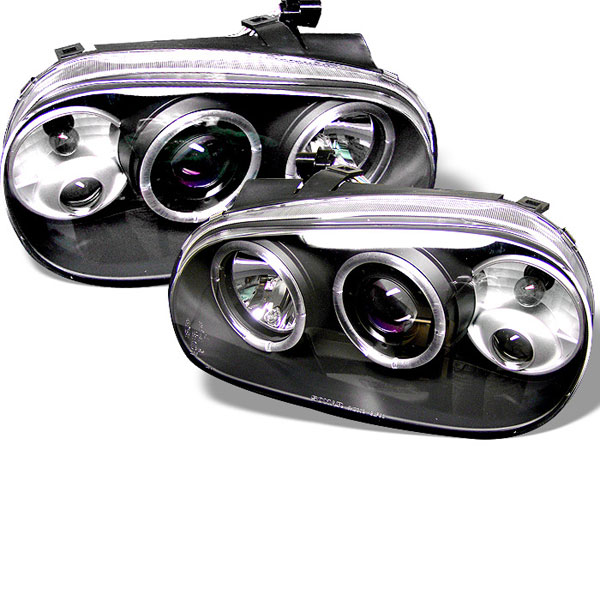 Spyder (5012159)  Volkswagen Golf IV 99-05 Halo Projector Headlights - Black  - (PRO-YD-VG99-BK)