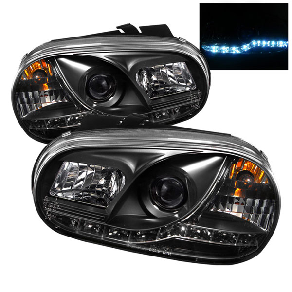 Spyder PRO-YD-VG99-DRL-BK:  Volkswagen Golf IV 99-05 DRL LED Projector Headlights - Black