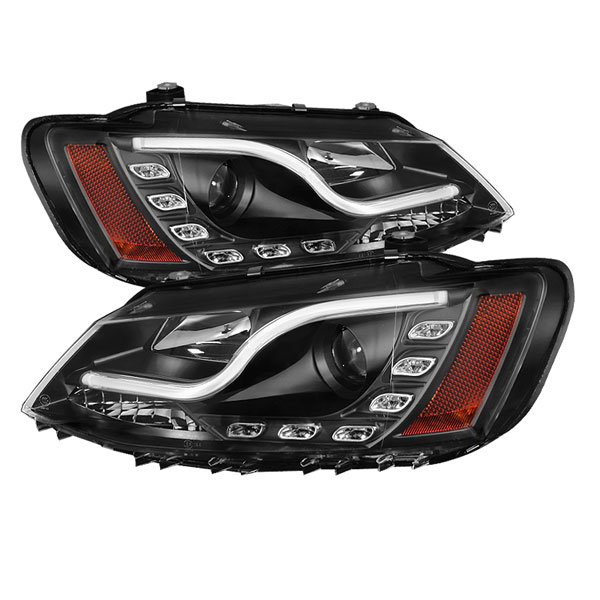 Spyder PRO-YD-VJ11-LTDRL-BK:  Volkswagen Jetta 11-13 Projector Headlights - Halogen Model Only ( Not Compatible With Xenon/HID Model ) Light Tube DRL - Black - High H1 (Included) - Low H7 (Included)