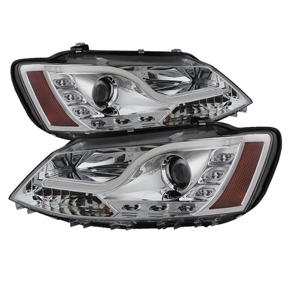 Spyder PRO-YD-VJ11-LTDRL-C:  Volkswagen Jetta 11-13 Projector Headlights - Halogen Model Only ( Not Compatible With Xenon/HID Model ) Light Tube DRL - Chrome - High H1 (Included) - Low H7 (Included)