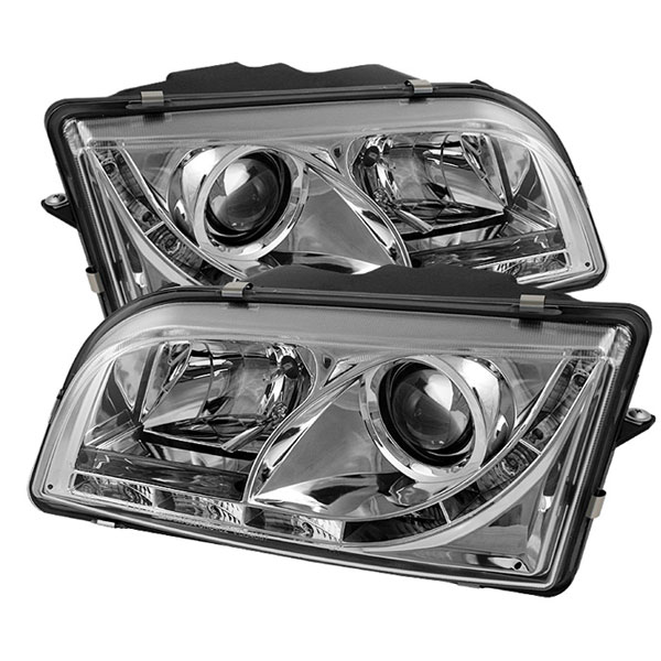 Spyder PRO-YD-VOS4097-DRL-C:  Volvo S40 97-03 DRL LED Projector Headlights - Chrome