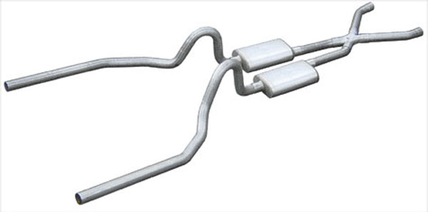Pypes Performance Exhaust SFM03: Pypes Mustang 2.5'' 1964.5-69 Crossmember-back System w/ X-pipe No Mufflers