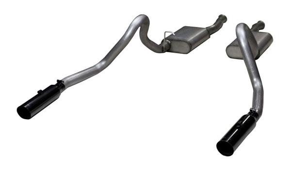 "Pypes Exhaust SFM27VB | Pypes Mustang 2.5 inch Converter-back System 409 Stainless w/ slip-fit 3"" Phantom Black Tips Violator Mufflers; 1999-2004"
