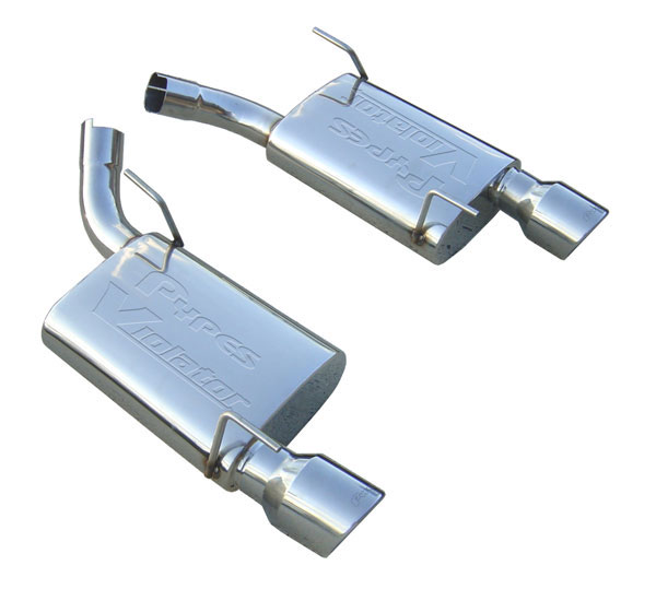 Pypes Exhaust SFM60VS | Pypes 304 Stainless Steel Violator Axle-Back w/ Polished 304 Tips for Mustang 2005-10 GT V8