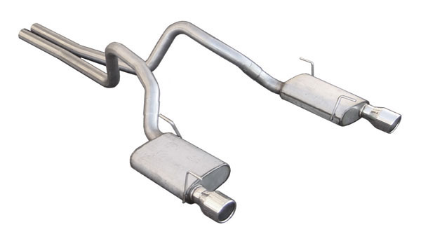 Pypes Exhaust SFM62V | Pypes 409 Stainless Steel Violator w/ mid-pipes + Axle-Back w/ Polished 304 Tips for Mustang GT V8; 2005-2010