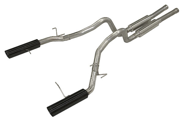 Pypes Exhaust SFM76MB | Pypes 2011-13 Mustang GT 3 inch SUPER SYSTEM Exhaust System - Phantom Black Tips