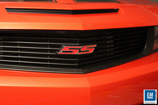 Sparks Restorations SR-HGEPR | & Up Chevy Camaro Heritage Grille Emblem Polished w/Red By Sparks USA; 2010-2012