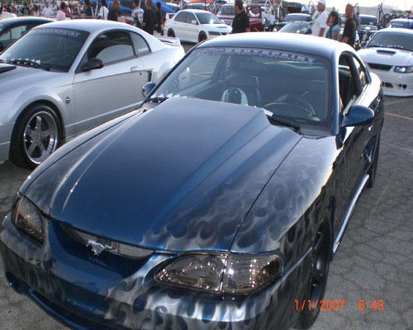 Trufiber TF10022-A49-3 |  Mustang Fiberglass Hood: 3 Cowl Induction V8; 1994-1998
