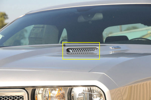 T-Rex 11416 |  Dodge Challenger (ALL) 2009 - 2012 T1 Stainless Hood Scoop - Style 1 (Factory Look) - 2 Pc