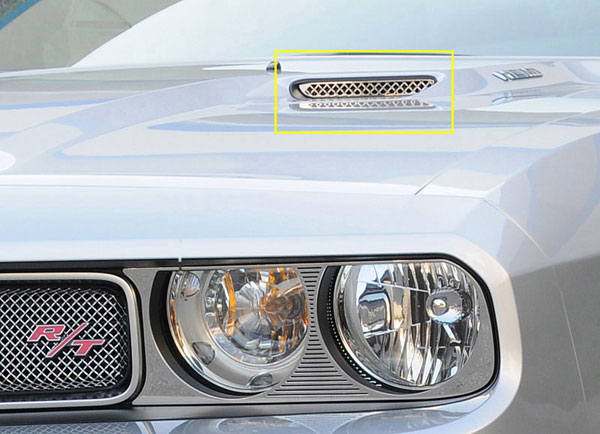 T-Rex 11417:  Dodge Challenger (ALL) 2009 - 2012 T1 Stainless Hood Scoop - Style 2 (Mesh Look) - 2 Pc