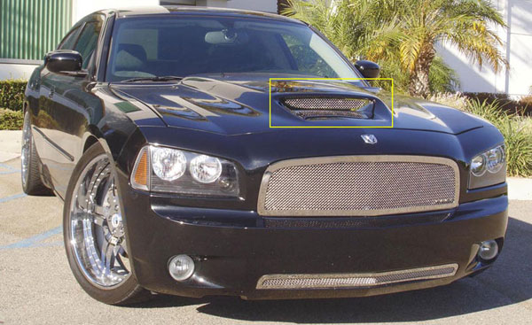 T-Rex 11475:  Dodge Charger SRT 2005 - 2012 T1 Stainless Hood Scoop (Mesh Look)