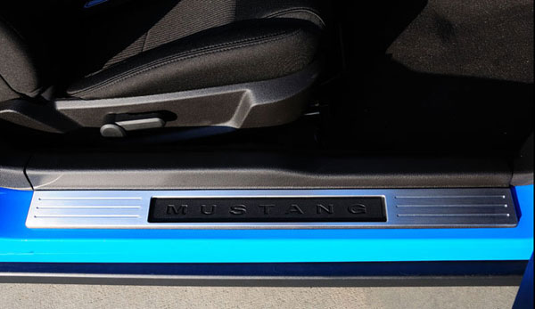 T-Rex 11519:  Ford Mustang (ALL) 2010 - 2011 T1 Series Door Sill - Billet Aluminum - Brushed - W/ Opening for OE Mustang Logo - 2 Pc