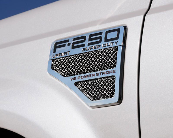 T-Rex 115640 |  Ford Super Duty (All Models) - Mesh Side Vent Insert - With Formed Mesh Center - 2 Pc - Replaces OE Inserts (EZ install) - Polished; 2008-2010