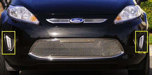 T-Rex 11588:  Ford Fiesta 2011 - 2011 Upper Class Polished Stainless Bumper Mesh Grille - 2 Pc Side Openings